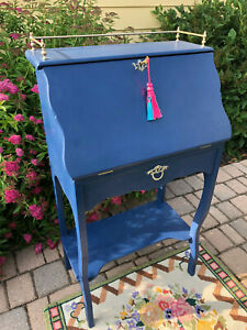 Small Vintage Painted French Blue Drop Front Secretary Desk