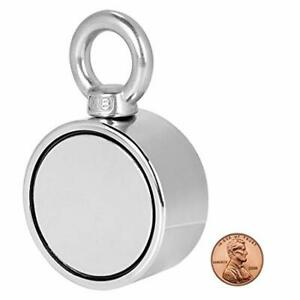 Double Sided Round Neodymium Magnet Fishing With Eyebolt Vertical Tension 500lb