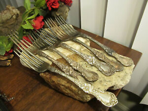Vintage 1835 R Wallace Silverplate Blossom 6 Forks Lot 1
