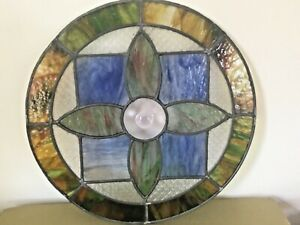 Old English Stained Glass Round Window Insert Handcrafted 20 Antique Salvage