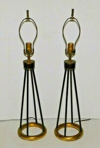 Vtg Pair Lightolier Thurston Era Lamp Mid Century Modern Retro Steampunk Atomic