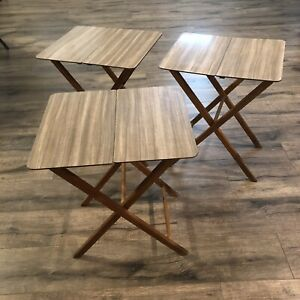 Vtg Mid Century Center Fold Tray Tables Tv Tray Formica Top Wood Legs Set Of 3