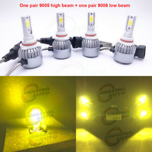 9005 9006 Combo Led Headlights High Low Beam Canbus 3000k Yellow 55w 8000lm Set