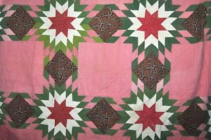 Beautiful Antique Handmade Quilt Hand Stitched Approx 82 X 83