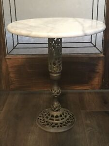 Vintage Filigree Brass And Marble Top Table Pedestal Plant Stand Side 18 T 15 W