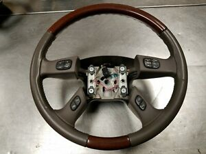 03 06 Cadillac Escalade Steering Wheel Leather Wood Grain Oem Factory
