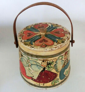 Old Lg Folk Art Primitive Hand Painted Wooden Firkin Pail Bucket Angels Hearts