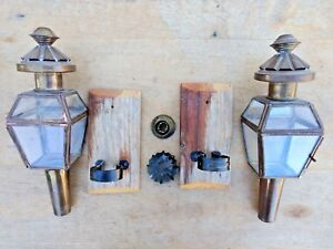 Sconces Glass Brass Pair Of 2 Carriage Lanterns Lamps Candle Holders Antique