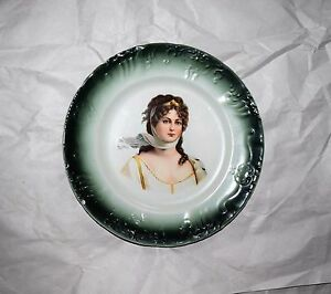 Antique W D La Belle China Woman Figure Portrait Plate 10 1 4