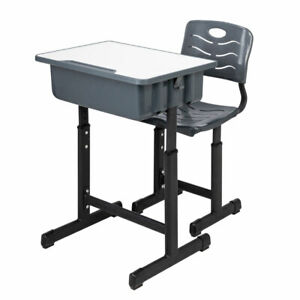 Study Table Set Adjustable Students Children Desk And Chairs Set Black