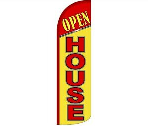 Open House red yellow 15 Windless Feather Flag Swooper Flag Flutter Flag Kit