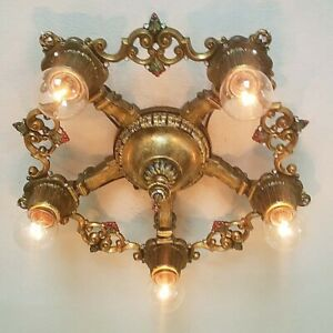 657b Vintage 30s Ceiling Light Art Nouveau Polychrome Chandelier Virden