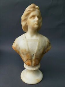 Antique 19th Century Carved Marble Bust On Base 15 1 2