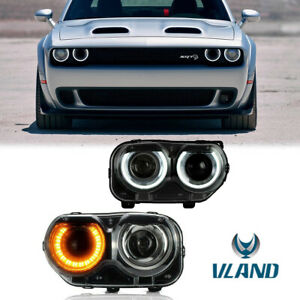 One Pair Drl Led Headlights For Dodge Challenger Se R t 2015 2018