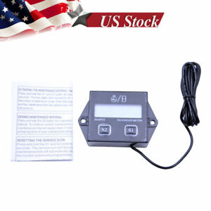 Digital Engine Tach Tachometer Hour Meter Inductive For Atv Generator Spark Pluk