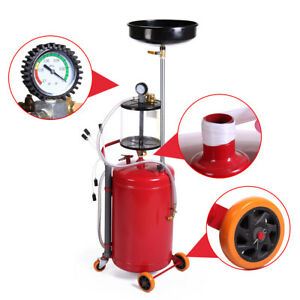 20 Gallon Heavy Duty Portable Waste Oil Drain Tank Air Operated Oil Filter Home