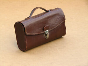 Vintage Old Small Doctor Apothecary Medical Leather Bag Box Marked 1972