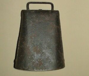 Primitive Antique Iron Riveted Cow Bell With Clanger