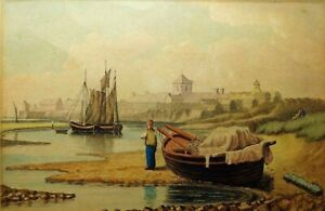 Late 19th Early 20th C British Maritime Watercolor Reframed W Boats Figures