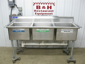 69 Stainless Steel 20 Bowl Three 3 Compartment Sink No Drain Boards 5 9