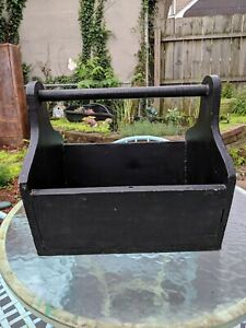 Vintage Large Black Painted Wood Wooden Carpenter Carrying Tote Tool Box Garden