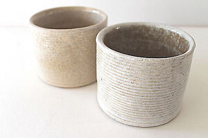 Mid Century 60 S Zansville Pottery Pair Stoneage Modern Line Ceramic Pots