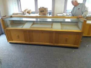 Your Choice Of Three Vintage Solid Hardwood Glass Jewelry Display Cases