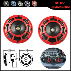 Red Electric Compact Car Horn Super Loud Blast Tone Grill Mount 12v 335hz 400hz
