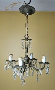 Vintage Petite Brass Crystal Prisms 4 Arm Chandelier Hanging Light Made In Spain