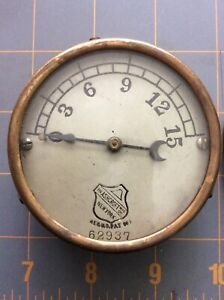 Antique Ashcroft Mfg Co Brass Steam Pressure Gauge Industrial Automobile Train