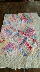 Antique Vintage Quilt Pieces Sweet Tattered Old Feedsack Fabrics