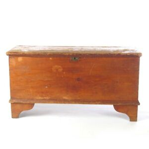 Antique Pine Blanket Chest Primitive Trunk Rustic 19th C
