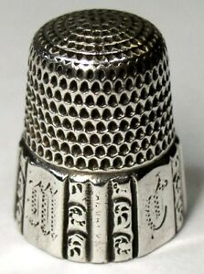 Antique Simons Bros Sterling Silver Thimble Fluted Octagon A M C Dtd 1889