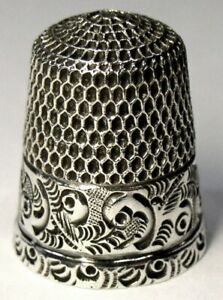 Antique Stern Brothers Co Sterling Silver Thimble Chased Scrolls C1890s