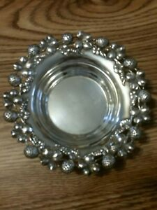 Antique Sterling Silver Tray Bowl Dish Heavy Rand Crane 130 Grams