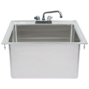 23 x21 x12 Stainless Steel One Compartment Drop in Sink With 8 Faucet