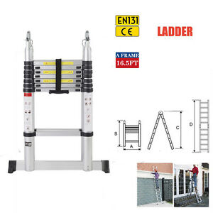 En131 16 5ft Aluminum Telescoping Telescopic Extension Ladder 300lbs Max Load