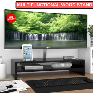 Multifunctional Wood Stand With 2 Tiers Shelves Cell Phone Holder Home Office