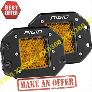 Rigid Industries Diff High Low Flush Mount D Series Pro Amber Led Lights Pair