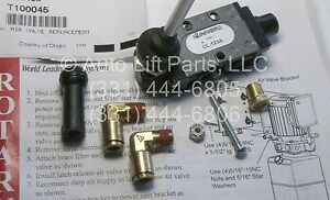 Air Lock Release Valve Kit For 4 post Rotary Lifts T140073 T100045 oem
