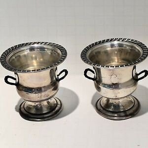 Pair 2 Vintage Sterling Silver Small Urn Vase Cigarette Toothpick Holders