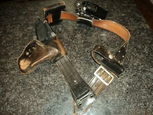 Vintage Leather Jay pee Police Duty Belt Hume Holster Cuff Holders Etc