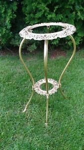 Antique Gold Victorian Ornate Angels Body S Decorated Metal Double Plant Stand