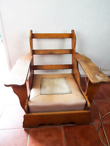 Vintage 1940 50s Cushman Oak Paddle Arm Lounge Chair Craftsman Style Retro Lodge