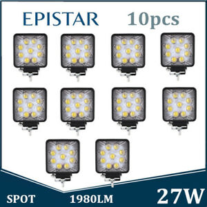 10x 27w Spot Square Led Work Light Offroad Car Driving Drl Ford 5d Opticals Boat