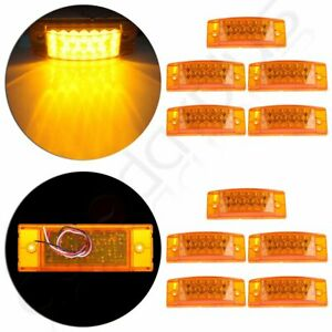10pcs Amber 6 Rectangular Side Marker turn Signal Trailer Lights 20 Led Sealed
