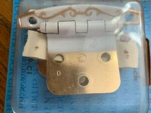Vintage Cabinet Ware 2 Hinges White With Gold Accent New In Box T7529 Door Hinge