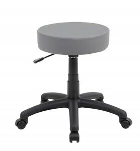 Adjustable Work Shop Stool With Wheels Seat Rolling Swivel Chair Bench Grey New