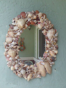 Vintage Shell Frame Oval Wall Mirror