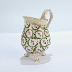 Old Or Antique Sevres Type Porcelain Creamer Pink Roses Green Wreath Twig Pc